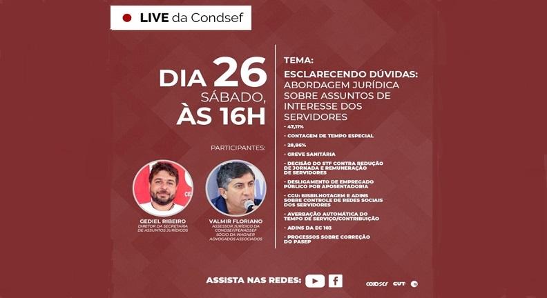 Condsef/Fenadsef esclarece dúvidas jurídicas em live nesse sábado, 26