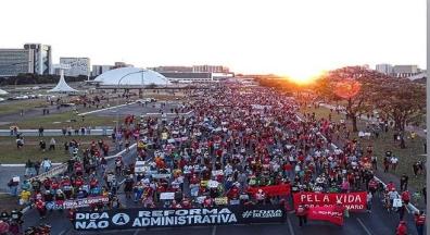 24J: Servidores reforçam atos #ForaBolsonaro e contra reforma Administrativa