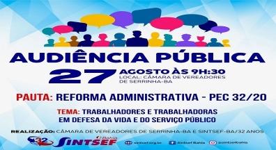 Audiência pública em Serrinha debate reforma Administrativa