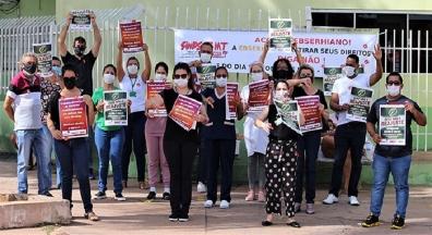 Dia de Luta: Empregados da Ebserh realizam ato no HUJM