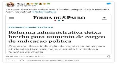 Servidores contestam Bolsonaro e põem o termo #ReformaFake no topo do Twitter