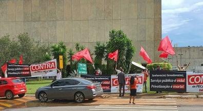 Sindicato realiza atos por melhores serviços públicos e contra PEC Emergencial