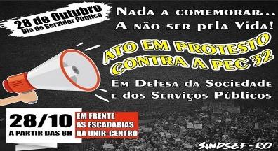 Sindsef-RO convoca para ato público em alusão ao Dia do Servidor Público