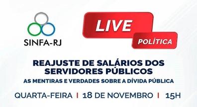 Sinfa-RJ realiza live sobre reajuste para os servidores e a Dívida Pública