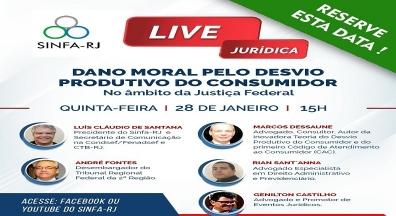 Sinfa-RJ realizará live sobre Dano Moral pelo Desvio Produtivo do Consumidor