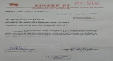 Sinsep-PI protocola pedido de audiência com secretário da SESAPI