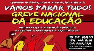 Universidades, IFs e escolas públicas vão parar, nesta 4ª, dia 15